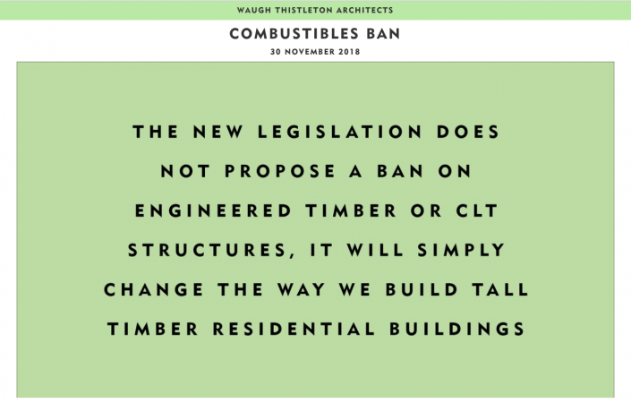 New legislation does not propose a ban on CLT for tall buildings